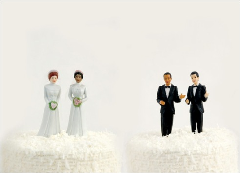 Same-Sex Marriage Couple Figurines on Wedding Cake